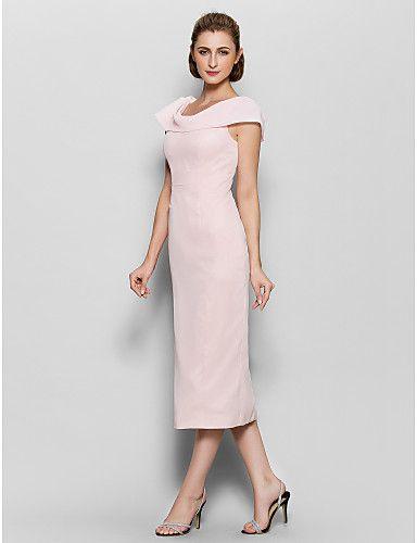Brautmutterkleid - Perlen Pink Chiffon - Etui-Linie - wadenlang - Kurze Ärmel 2016 - $79.99
