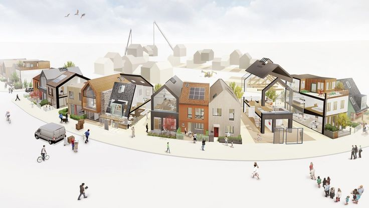 Igloo's Custom Build scheme in Cornwall (on site) - note variation achieved through terraced, semi-bespoke house options refined by home buyers