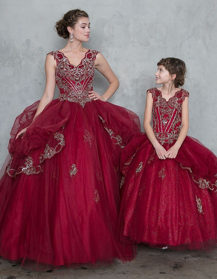a3761aedb9 Girls Quinceanera split skirt burgundy ball gown. Burgundy ball gown  embellished from Calla Collection USA! The dress comes with full-length  tulle skirt