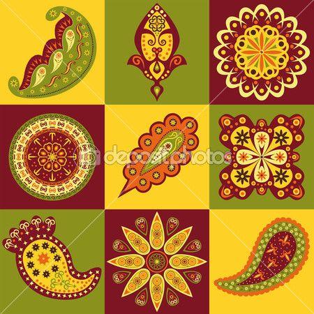 Набор индийский узор — стоковая иллюстрация #11402307
