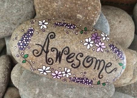 Happy Rock - Awesome - Hand-Painted River Rock - lupine purple lilac flowers