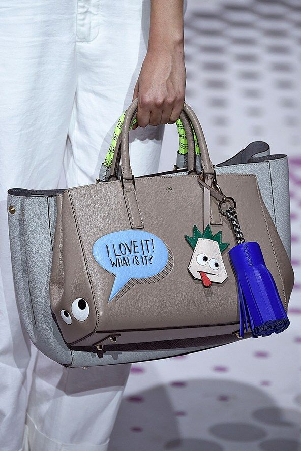 "Anya Hindmarch Spring/Summer 2015. Lots of doubling up on bags for spring & ""artist"" graphic bags."