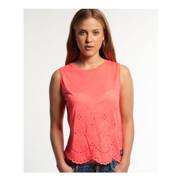 Superdry Cutwork Slub Shell Top (86 BRL) ❤ liked on Polyvore featuring tops, orange, red vest, embellished tank tops, vest top, red top and cut out tank