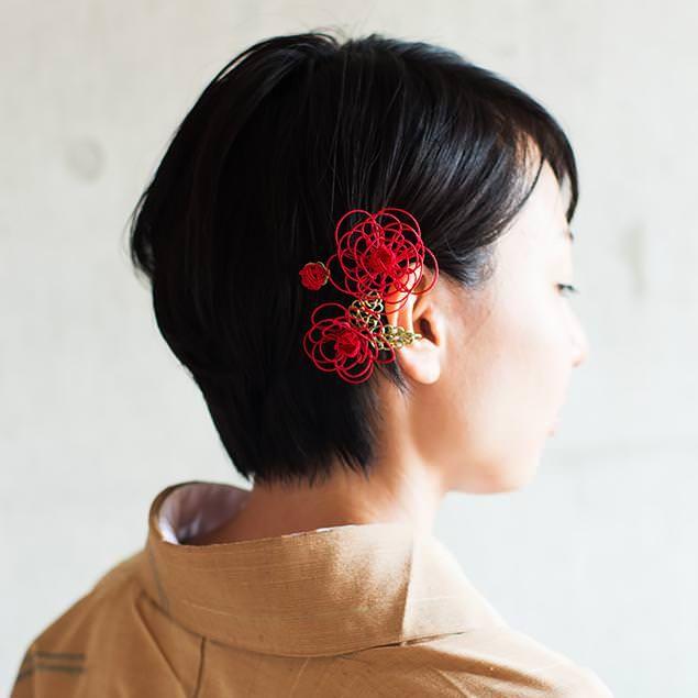水引髪飾り ミニ薔薇(深紅)│着物│浴衣
