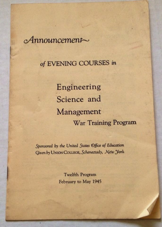 Vintage 1945 Union College Program Schenectady NY War Training Evening Course