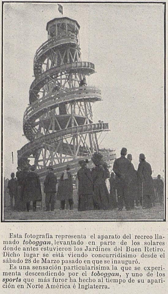 Tobogán situado en los Jardines del Buen Retiro, solar en el que se levantó el Palacio de Comunicaciones