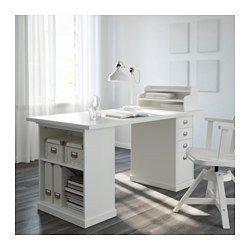 Green Room - IKEA - KLIMPEN, Table leg with storage, white, , You can customize your storage with the adjustable shelf.Can be placed anywhere in the room because the back is finished.