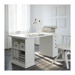 IKEA - KLIMPEN, Pied de table avec rangement, blanc, , Vous pouvez organiser l'espace de rangement selon vos besoins grâce à la tablette réglable.La finition soignée à l'arrière du meuble permet de le placer au milieu de la pièce.