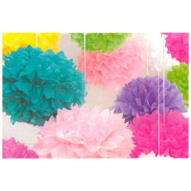 Pompons in zijdepapier 1st:30,5cm 2st:40,6cm roze - Feestbenodigdheden - Decoratie - Creatief
