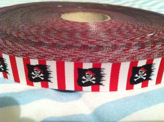 Webband Pirat Flagge rot/weiß serukid Piraten Band