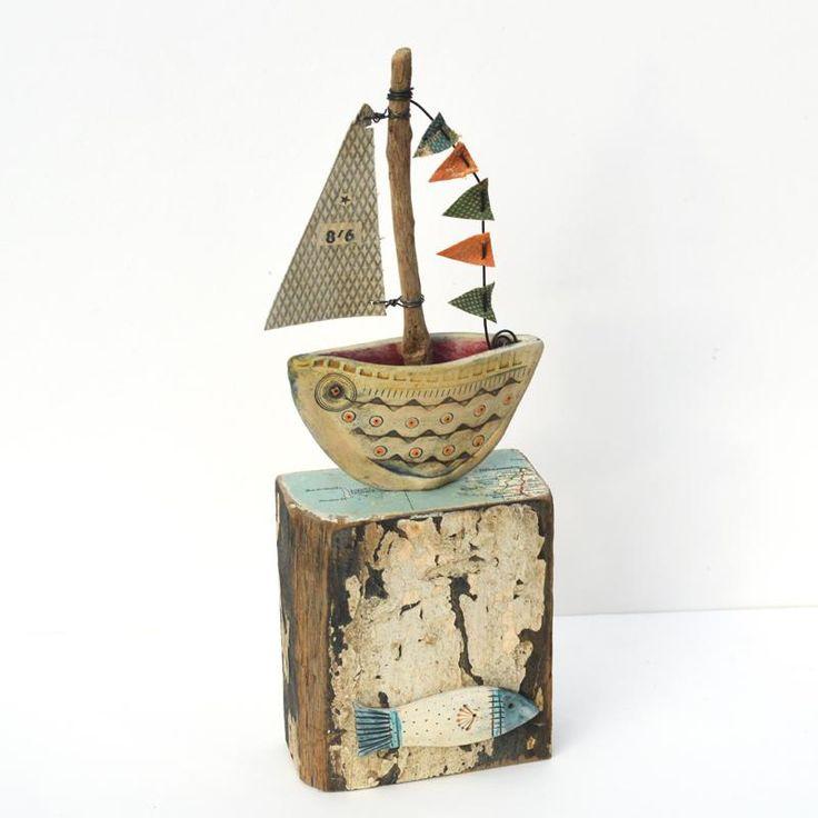 Little Boat Sculpture - Driftwood Art - CoastalHome.co.uk: Driftwood