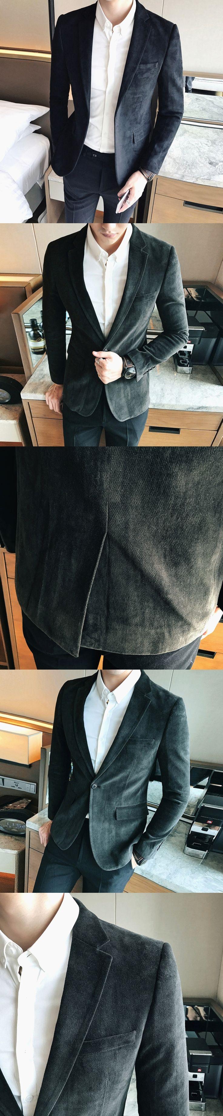 2017 Winter Suits Mens Dark Green Suits Men Deerskin Smoking Jackets Black Tuxedo Terno Slim Fit Casacas Hombre Azul Korea Dress