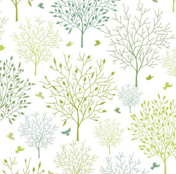 Birds Among Trees Fabric Birds In The Spring Garden By Etsy Spring Garden Shop Wallpaper Fabric Birds
