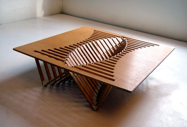 collapsible tableCoffe Tables, Coffee Tables, Vans Embricq, Wood Furniture, Tables Design, Rise Tables, Robert Vans, Products Design, Wooden Tables