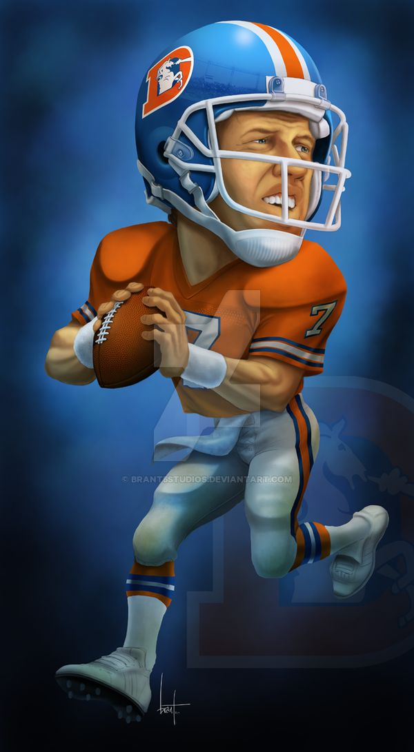 It's been a long time since I've done sports caricature work...but thought I would have some fun here. I picked the throwback Broncos uniforms because their colors really pop and make for good dram...