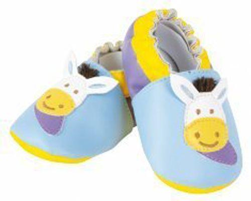 Baby Schuhe blau Pferd -  Doudou et Compagnie - - Material: Polyester  - abwischbar  - in Geschenkverpackung  - Altersempfehlung: ab 6-12 Monate - Babyschuhe