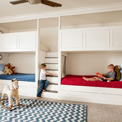 Hangout-friendly bunks maximize  play space for this family with four kids under the age of 7. | Photo: Christiaan Blok | thisoldhouse.com