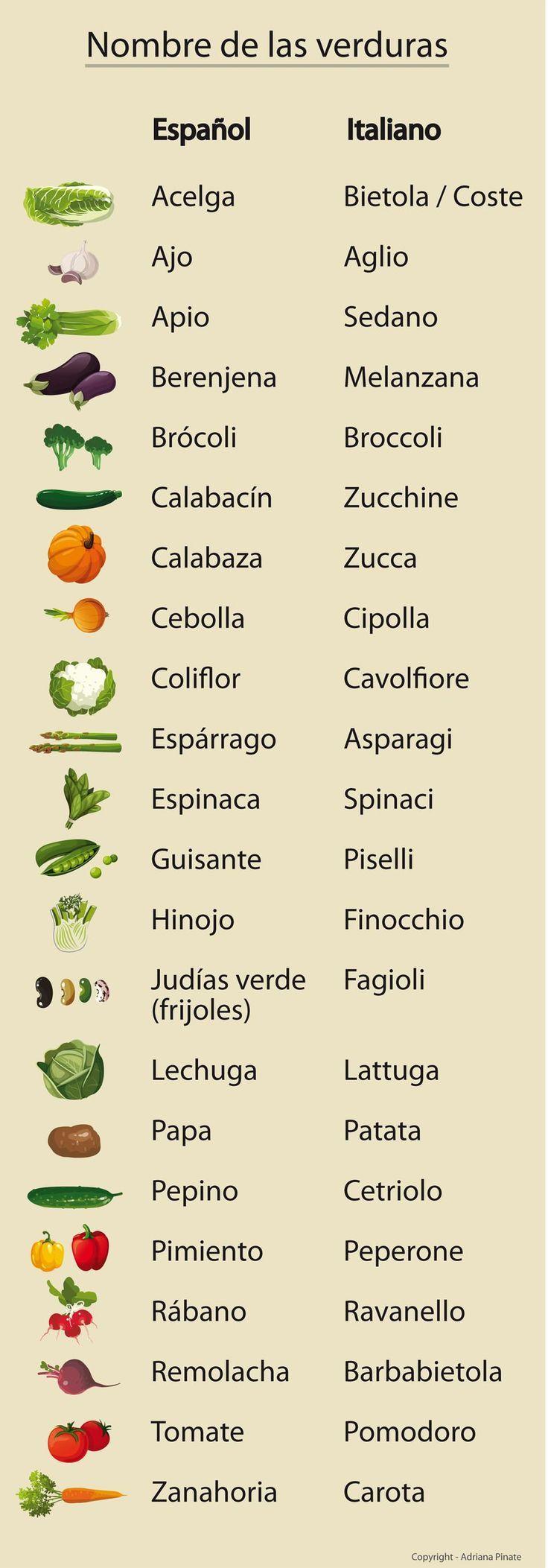 ¿Cómo se llaman las verduras en italiano? verdura inforgrafía