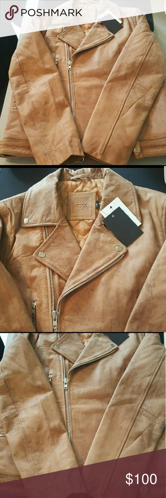 Woman's ASOS leather jacket medium Brand new never been worn has tags size medium ASOS Jackets & Coats Utility Jackets