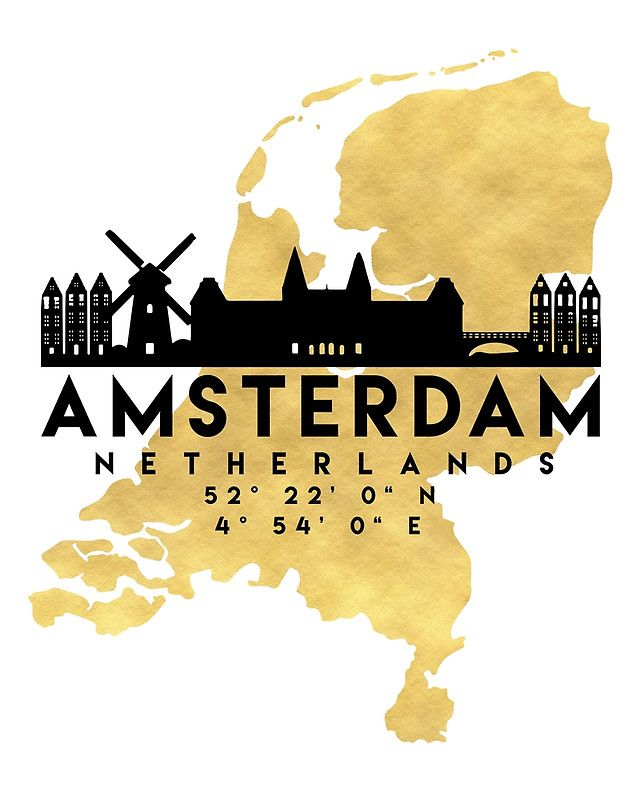 AMSTERDAM NETHERLANDS SILHOUETTE SKYLINE MAP ART -  The beautiful silhouette skyline of Amsterdam and the great map of Netherlands in gold, with the exact coordinates of Amsterdam make up this amazing art piece. A great gift for anybody that has love for this city.  amsterdam netherlands downtown silhouette skyline map coordinates souvenir gold deificus art