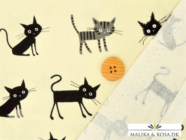 Japanks stof med grå og sorte katte. Køb nu online !