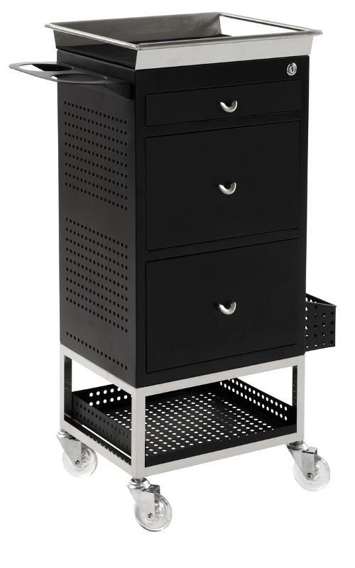 Hairdressing Salon Furniture - Hairdressing Supplies - Lockable 3 Drawer Trolley