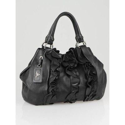 Prada Black Nappa Leather Ruffle Shoulder Bag | Prada, Shoulder ...