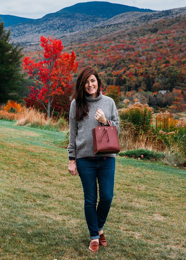 Vince cashmere turtleneck, Madewell bag & loafers