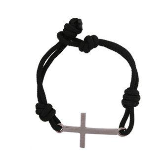 Handmade jewelry, men`s bracelet cross made from platinum plated silver 925o with navy cord - Χειροποίητο κόσμημα, αντρικό βραχιόλι σταυρός από ασήμι 925ο με πλατίνωμα και ναυτικό κορδόνι