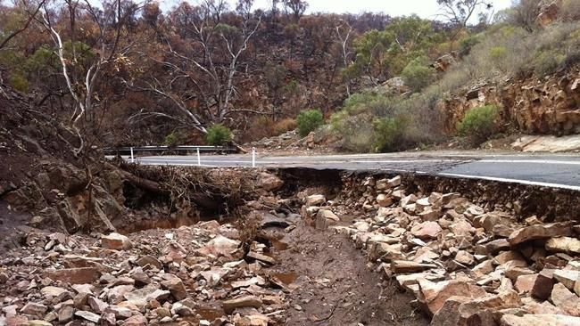 The fire- and flood-ravaged Port Germein Gorge Rd, between Port Germain and Murray Town in the southern Flinders Ranges, has been closed until further notice because of flood damage. Description from adelaidenow.com.au. I searched for this on bing.com/images