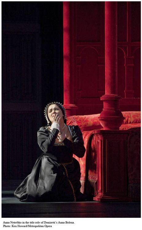 Anna Netrebko, soprano, as the title role in Donizetti's opera ANNA BOLENA. Metropolitan Opera.