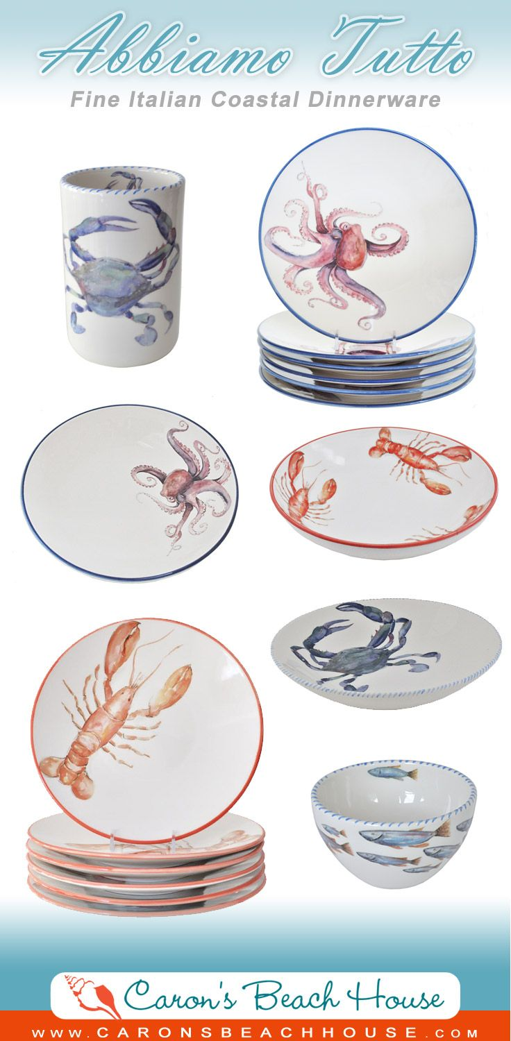 Fabulous Italian Dinnerware in coastal-seaside designs makes holiday parties extra special!  Come see our entire collection -