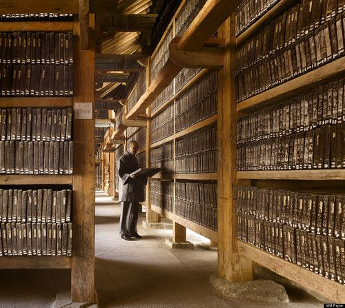 The Tripitaka Koreana, Haeinsa Temple, South Korea, 1231. This is one of the oldest and most remarkable collections in the world. The items on the shelves are not books, but wooden printing blocks. There are over 80 000 of them. This building is not open to the public, although you can visit the temple and stare through the windows. It is one of the most remarkable places we were given access to. The blocks have been preserved by the ...