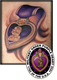 Image result for military purple heart tattoo designs