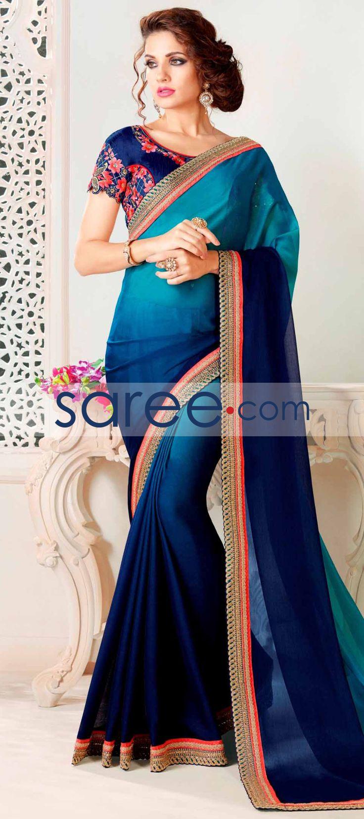 BLUE CHIFFON SAREE WITH EMBROIDERY WORK  #Saree #GeorgetteSarees #IndianSaree #Sarees #PartywearSarees #RegularwearSarees #officeWearSarees #WeddingSarees #BuyOnline #OnlieSarees #GeorgetteSarees #NetSarees #ChiffonSarees #DesignerSarees #SareeFashion