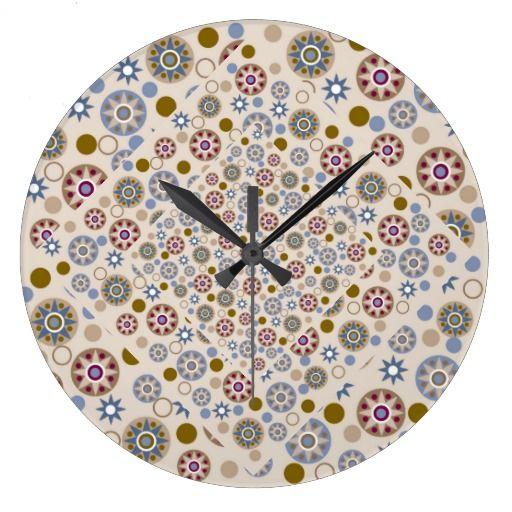 Elegant Stars and Circles Pattern Wallclocks