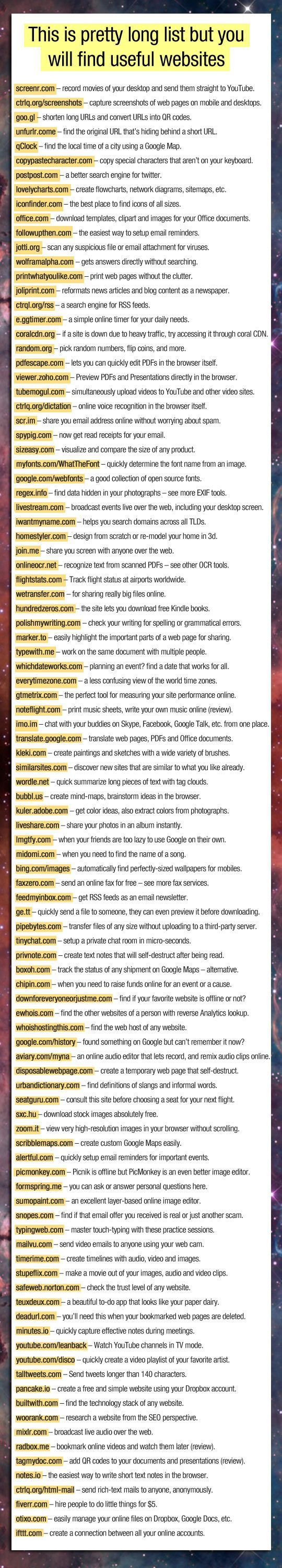 Amazing list of useful websites.
