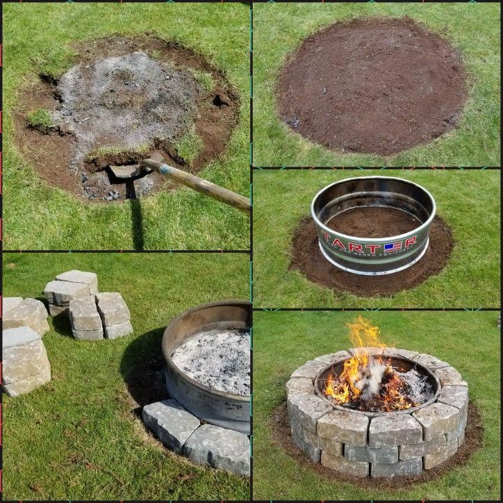 Diy stone paver fire pit 39 metal fire ring from tractor