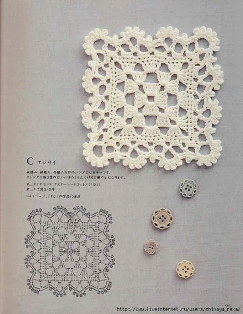 Crochet Lacy Granny Square. ☀CQ #crochet…