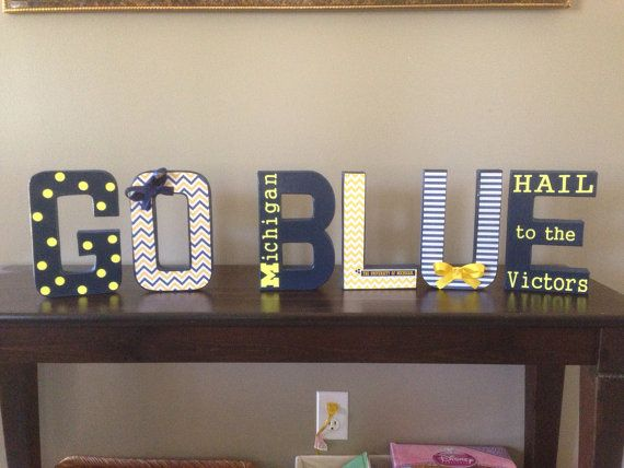 MADE TO ORDER - University of Michigan Decorative Letters - Go Blue on Etsy, $50.00