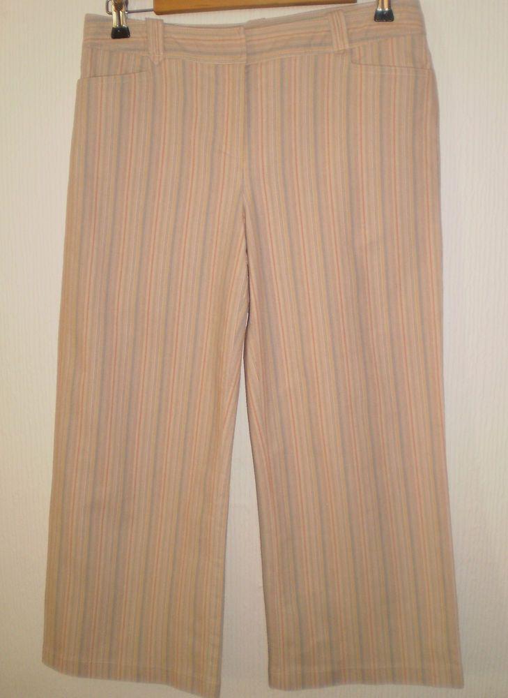 Principles Multi Coloured Striped Jean style Cropped Capri Trouser size 12