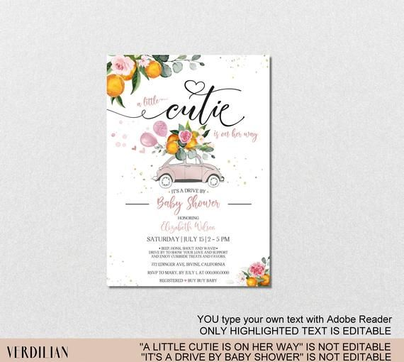 Drive By Oranges Baby Shower Invitation Template Cutie Baby Pink Girl Citrus Sprinkle Diy Printable Pdf Instant Download Vrd802dsh In 2021 Baby Shower Invitation Templates Baby Shower Invitations Floral Baby Shower Invitations
