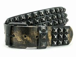 Distressed Black Studded Vintage Style Leather Belt