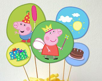 Peppa Pig cupcake toppers, Peppa Pig 2 inch circles, tags, Peppa Pig stickers…