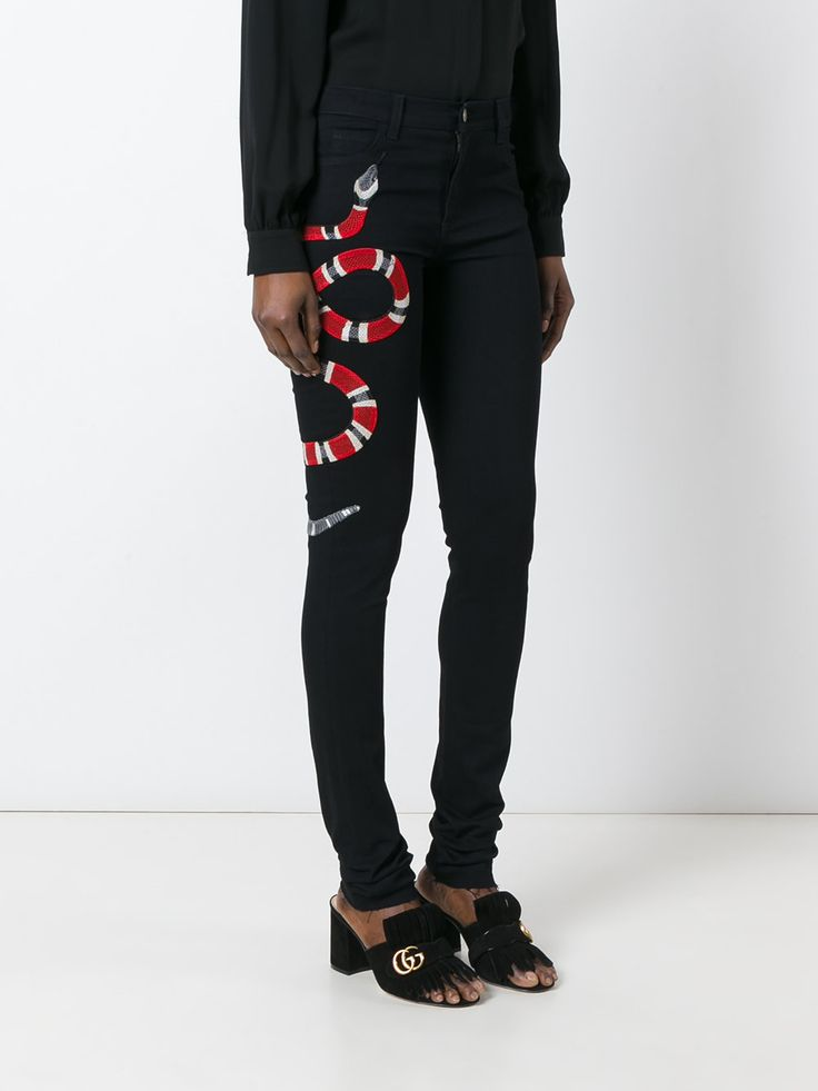 Gucci snake embroidered skinny jeans