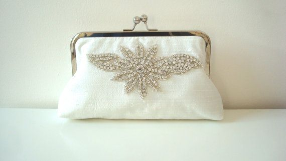 Rhinestone purse, ivory silk purse, elegant wedding bag, rhinestone bridal clutch, tiffany blue clutch, Ready to Ship Made in England UK