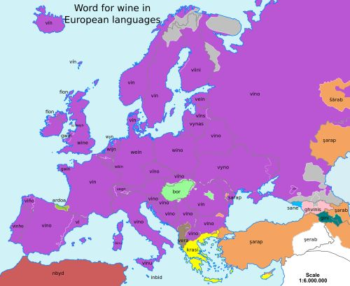Word for wine in European languages. Source: BubbaMetzia (reddit)