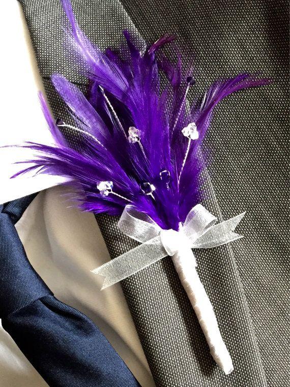 Cadbury Purple Swarovski Crystal Button Hole by Makewithlovecrafts