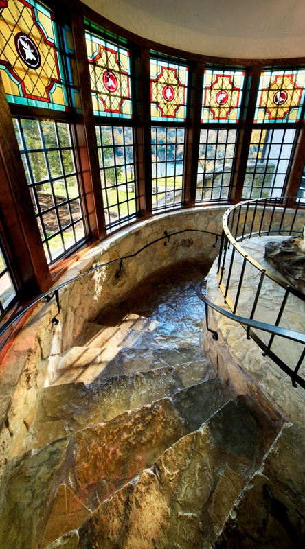 Best Stunning Spiral Staircase Illuminated By Antiqued Stained 400 x 300