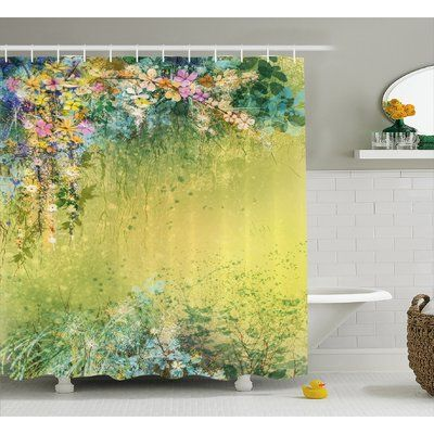 "Winston Porter Bruce Spring Foliage With Leaves Hand Drawn Aesthetic Inspiring Picture Shower Curtain Size: 69"" W x"